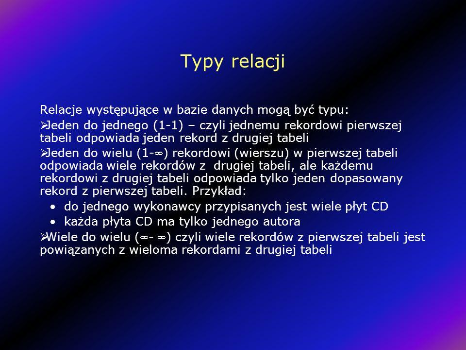 Typy relacji Relacje występujące w bazie danych mogą być typu: