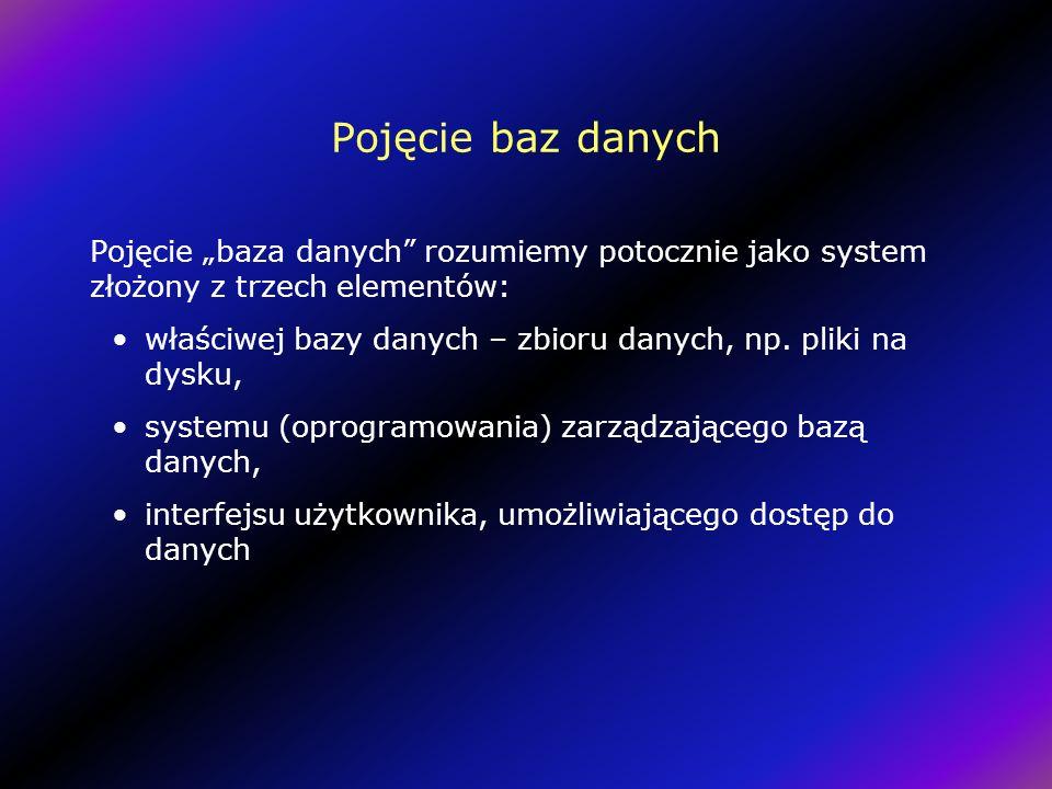 """Pojęcie baz danych Pojęcie """"baza danych rozumiemy potocznie jako system złożony z trzech elementów:"""