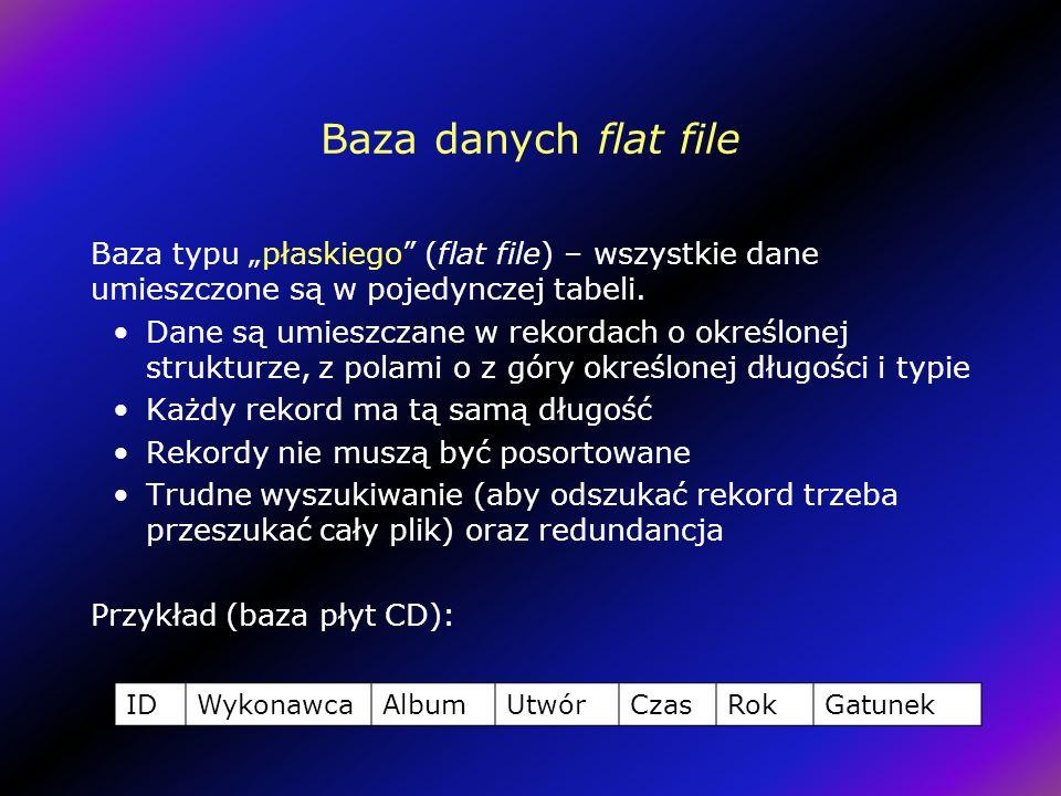 """Baza danych flat file Baza typu """"płaskiego (flat file) – wszystkie dane umieszczone są w pojedynczej tabeli."""