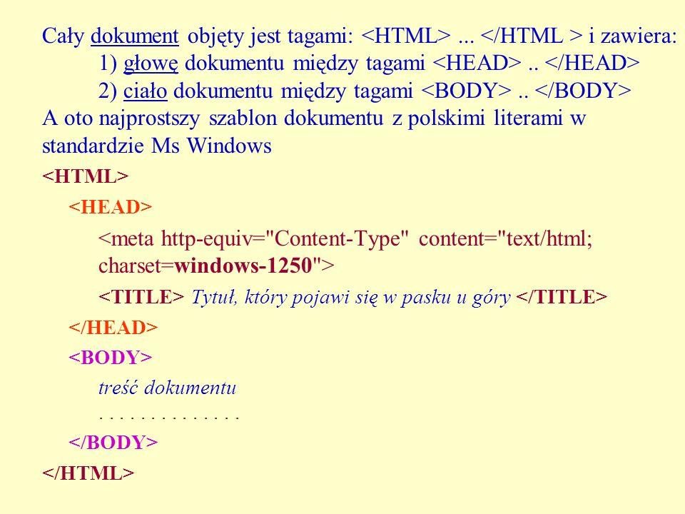 Cały dokument objęty jest tagami: <HTML>