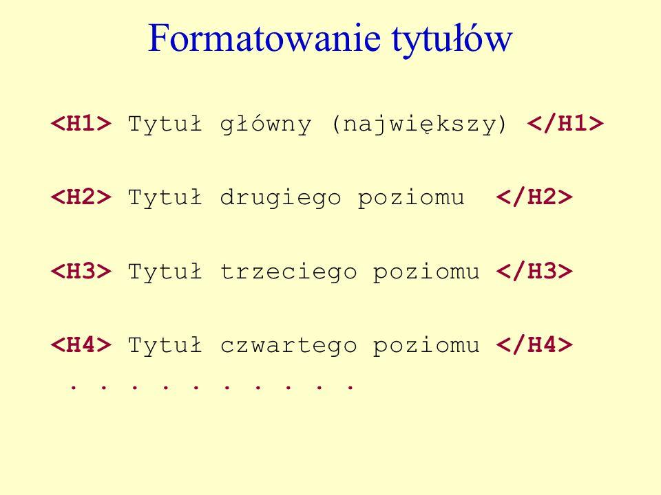 Formatowanie tytułów <H1> Tytuł główny (największy) </H1>