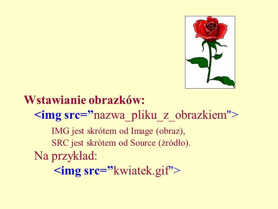 Wstawianie obrazków: <img src= nazwa_pliku_z_obrazkiem >
