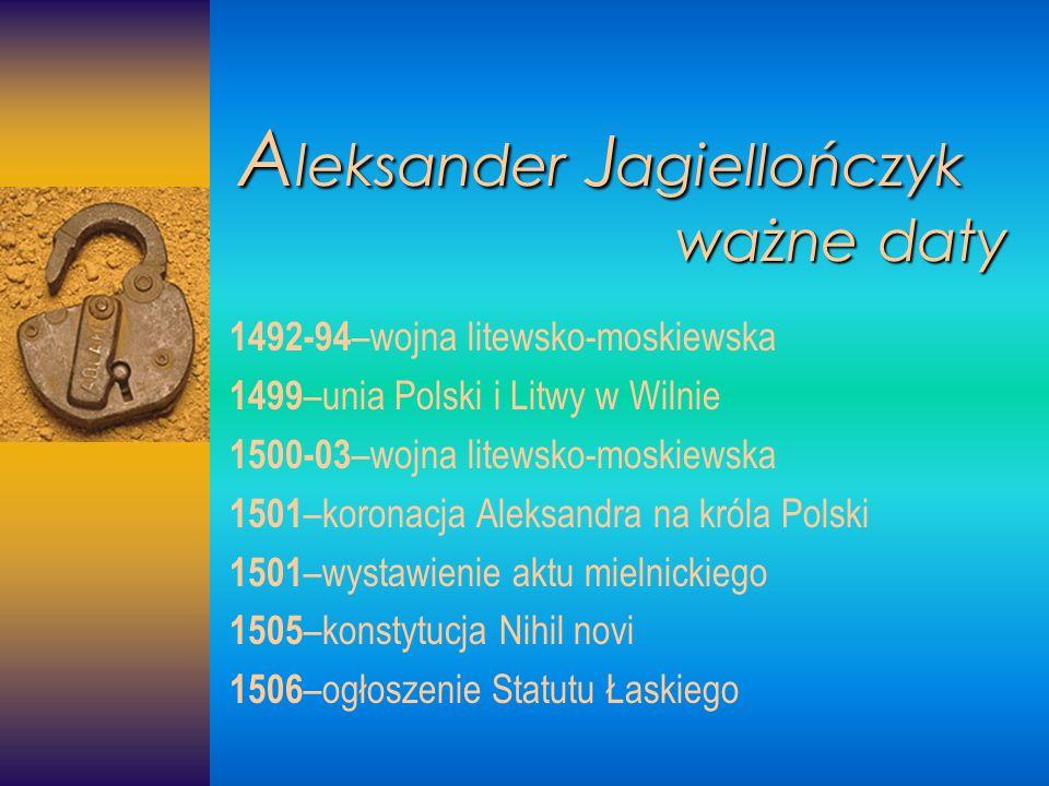 Aleksander Jagiellończyk ważne daty