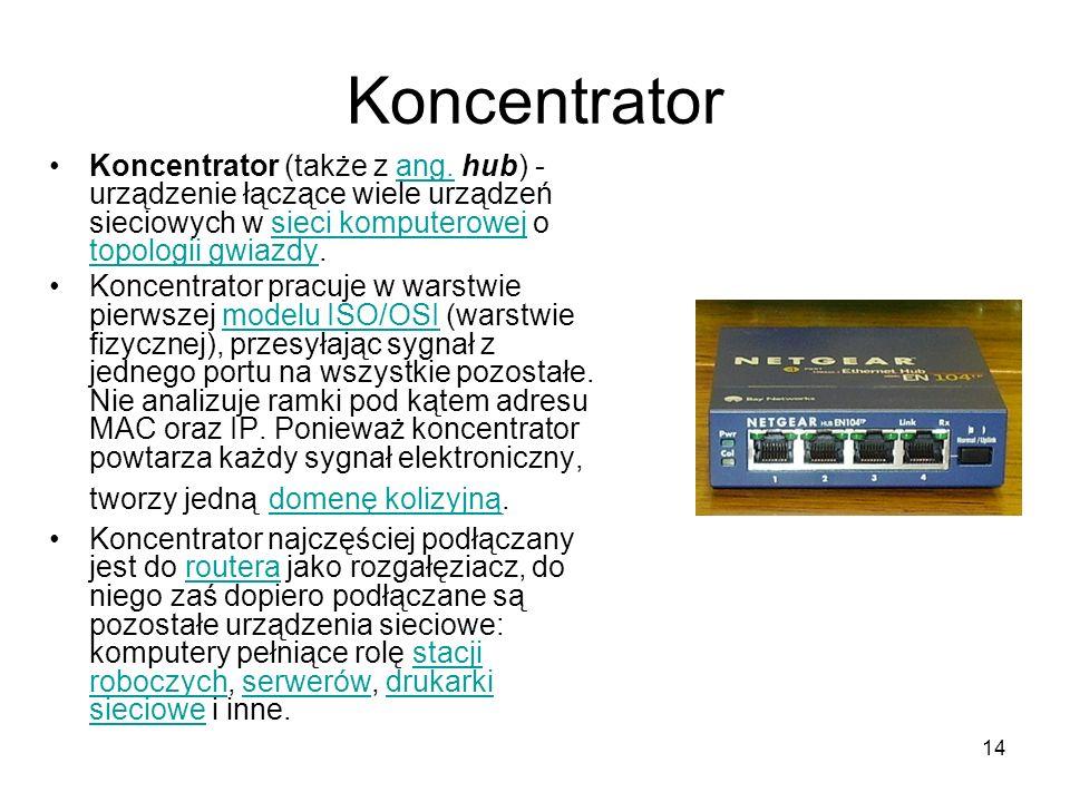 Koncentrator Koncentrator (także z ang. hub) - urządzenie łączące wiele urządzeń sieciowych w sieci komputerowej o topologii gwiazdy.