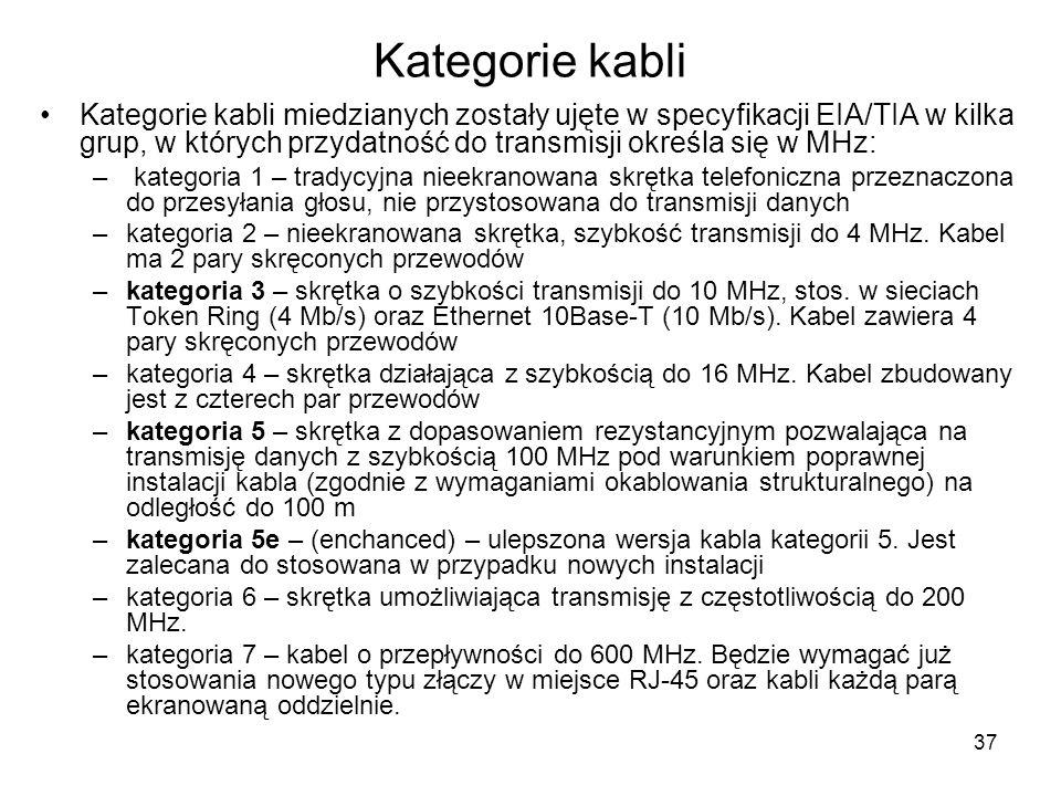 Kategorie kabli Kategorie kabli miedzianych zostały ujęte w specyfikacji EIA/TIA w kilka grup, w których przydatność do transmisji określa się w MHz: