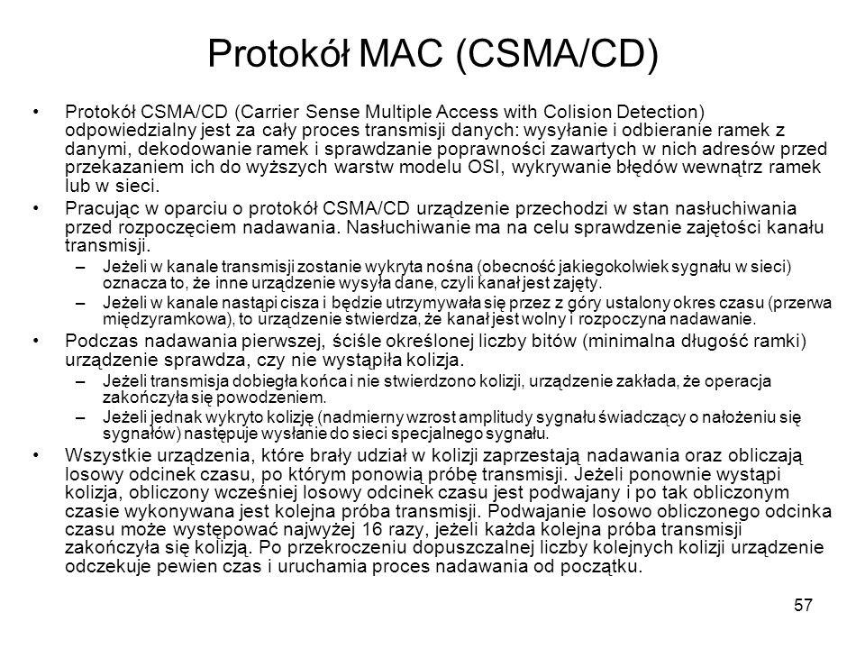 Protokół MAC (CSMA/CD)