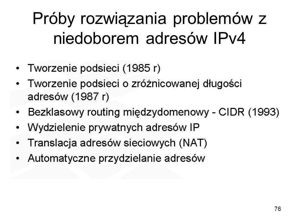 Próby rozwiązania problemów z niedoborem adresów IPv4