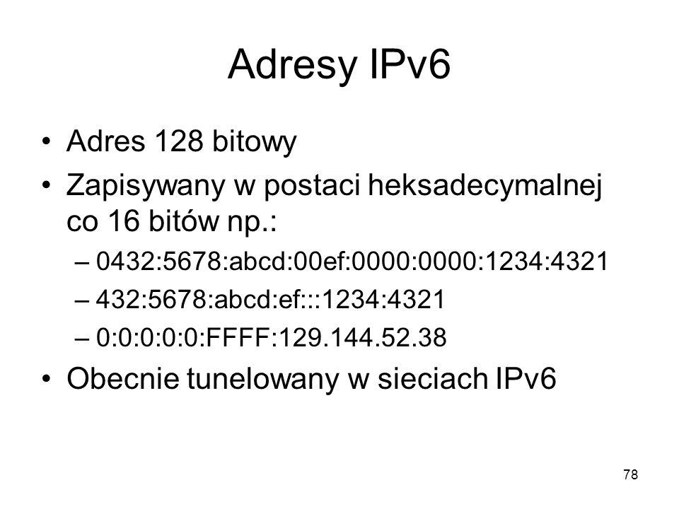 Adresy IPv6 Adres 128 bitowy