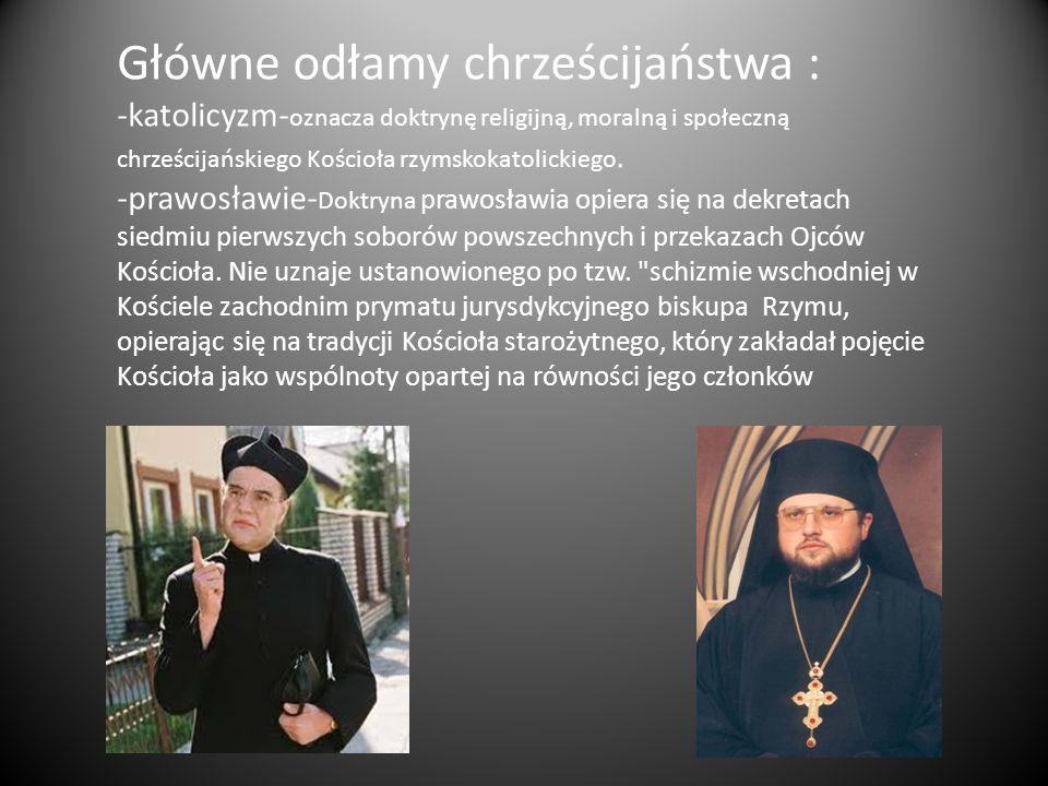 Główne odłamy chrześcijaństwa :