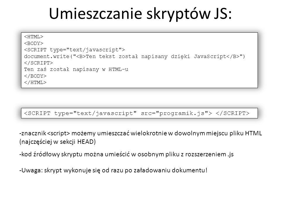 Umieszczanie skryptów JS: