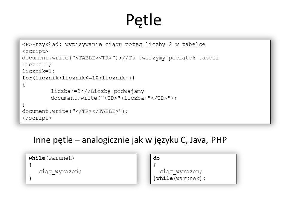 Pętle Inne pętle – analogicznie jak w języku C, Java, PHP