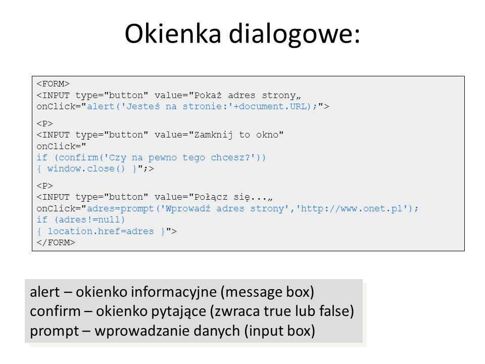 Okienka dialogowe: alert – okienko informacyjne (message box)
