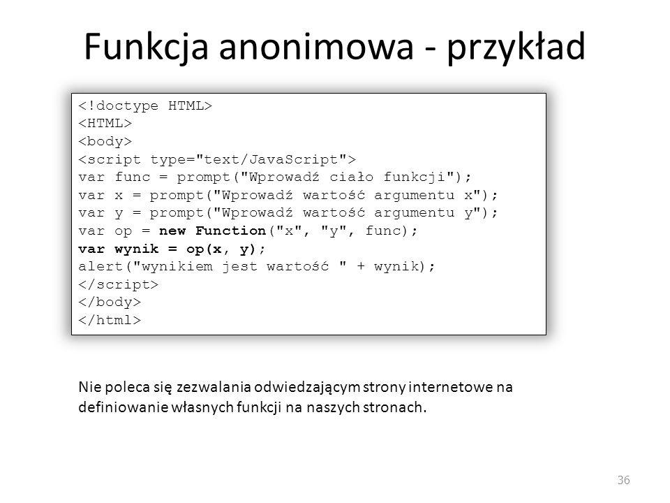 Funkcja anonimowa - przykład