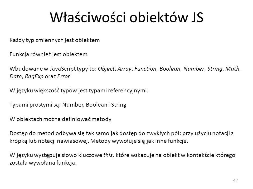 Właściwości obiektów JS