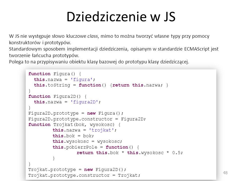 Dziedziczenie w JS W JS nie występuje słowo kluczowe class, mimo to można tworzyć własne typy przy pomocy konstruktorów i prototypów.