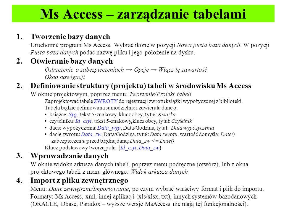 Ms Access – zarządzanie tabelami