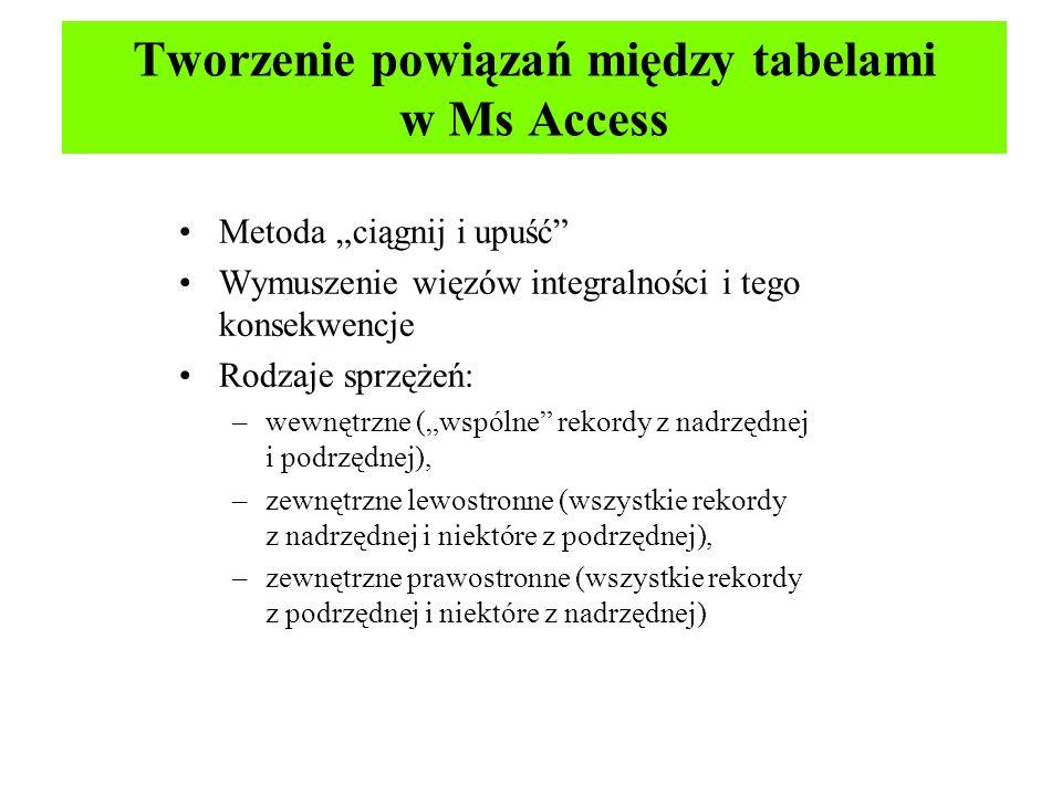Tworzenie powiązań między tabelami w Ms Access