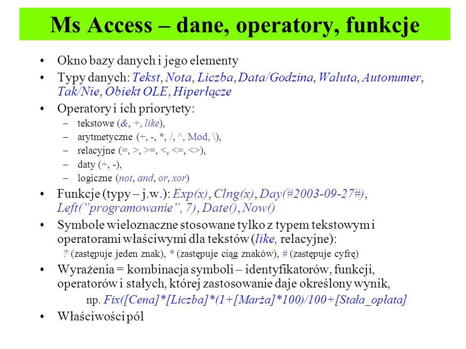 Ms Access – dane, operatory, funkcje
