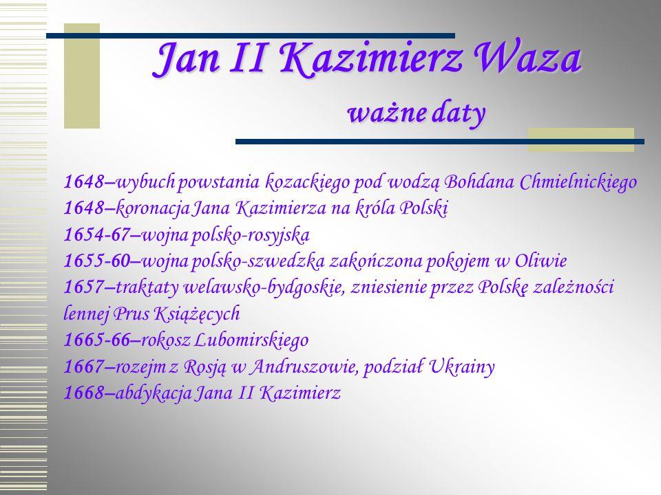 Jan II Kazimierz Waza ważne daty