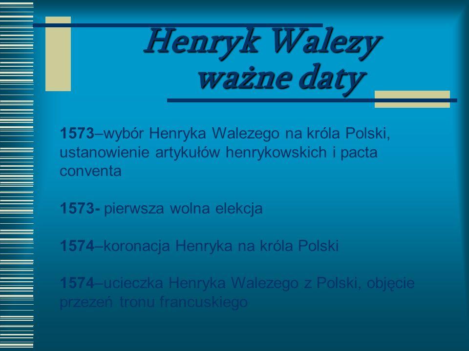 Henryk Walezy ważne daty
