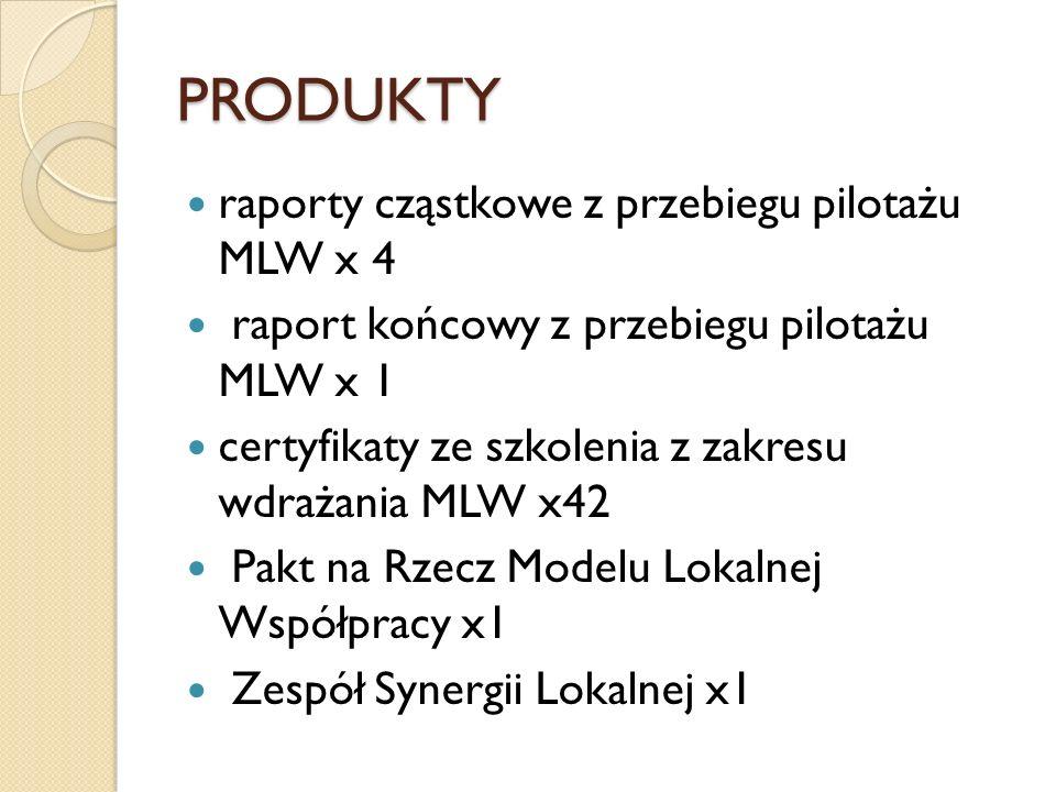 PRODUKTY raporty cząstkowe z przebiegu pilotażu MLW x 4