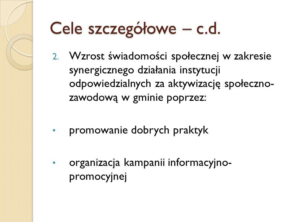 Cele szczegółowe – c.d.
