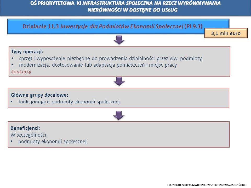 Działanie 11.3 Inwestycje dla Podmiotów Ekonomii Społecznej (PI 9.3)