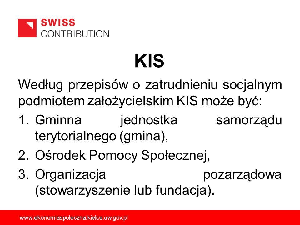 KIS Według przepisów o zatrudnieniu socjalnym podmiotem założycielskim KIS może być: Gminna jednostka samorządu terytorialnego (gmina),