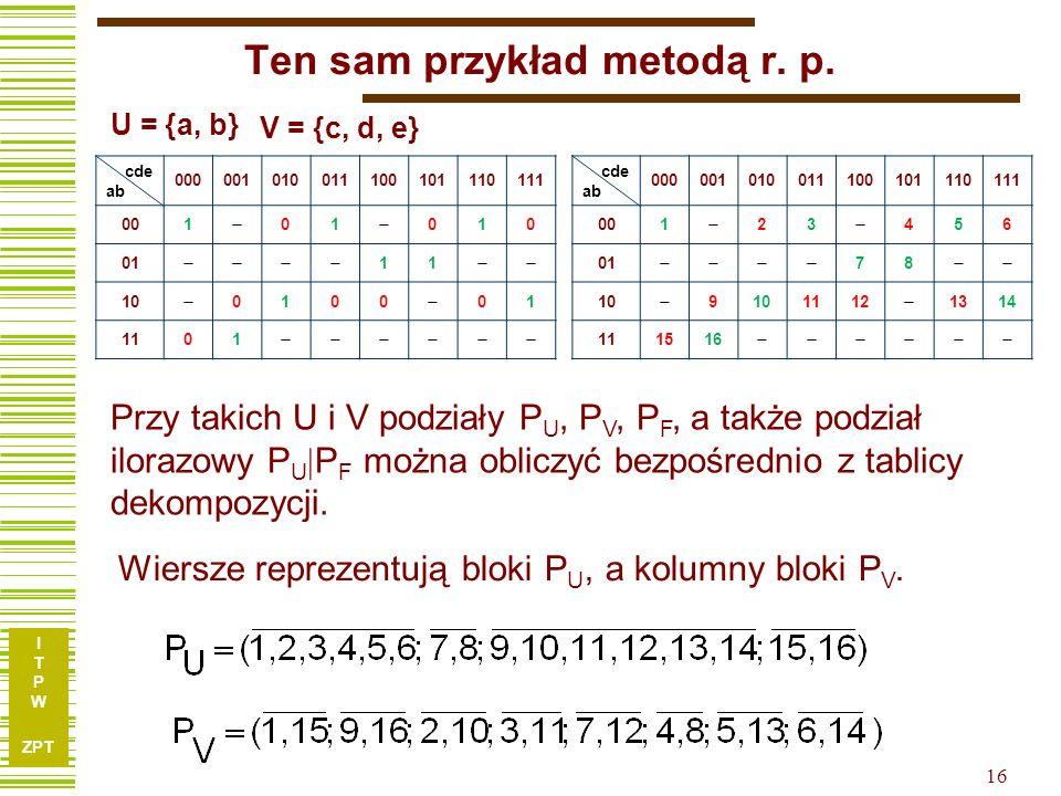 Ten sam przykład metodą r. p.