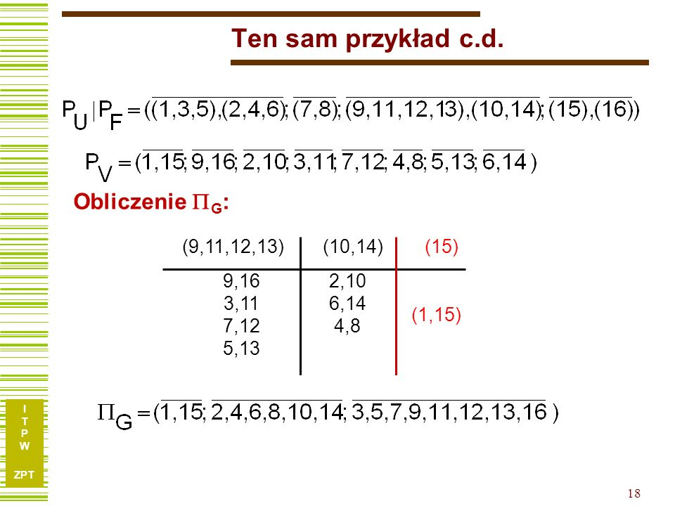 Ten sam przykład c.d. Obliczenie G: (9,11,12,13) (10,14) (15) 9,16. 3,11. 7,12. 5,13. 2,10.