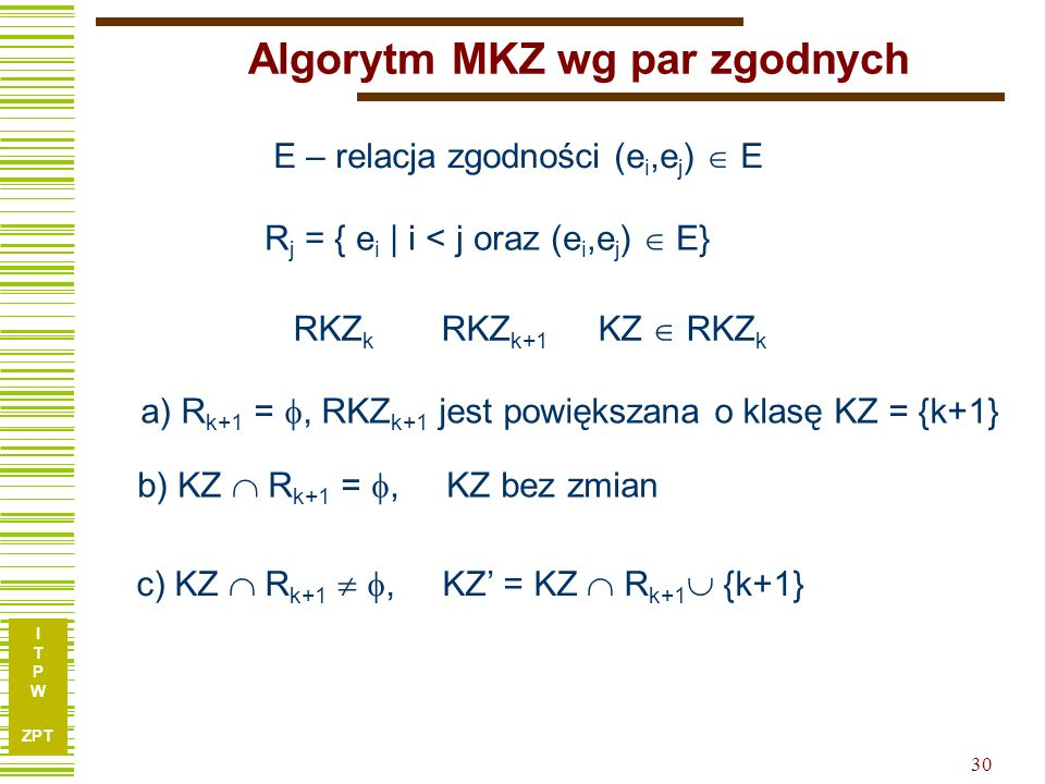 Algorytm MKZ wg par zgodnych