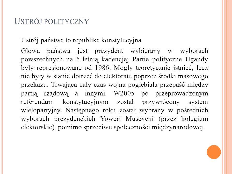 Ustrój polityczny Ustrój państwa to republika konstytucyjna.