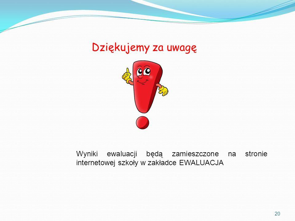 Dziękujemy za uwagę Wyniki ewaluacji będą zamieszczone na stronie internetowej szkoły w zakładce EWALUACJA.