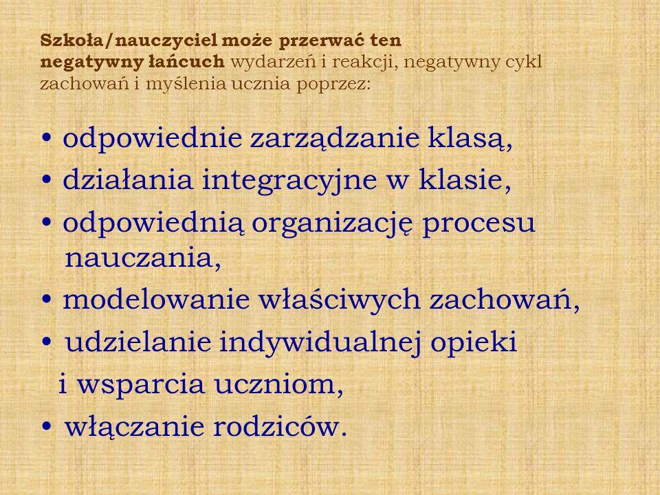 • odpowiednie zarządzanie klasą, • działania integracyjne w klasie,