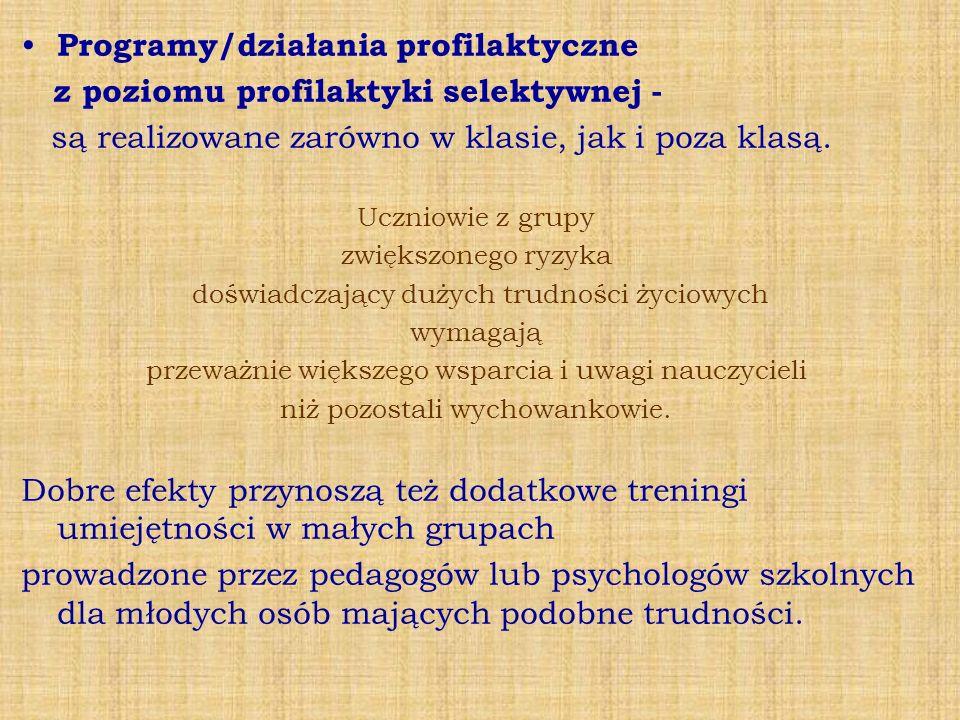 Programy/działania profilaktyczne z poziomu profilaktyki selektywnej -
