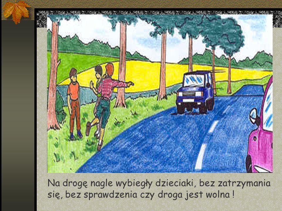 Na drogę nagle wybiegły dzieciaki, bez zatrzymania się, bez sprawdzenia czy droga jest wolna !