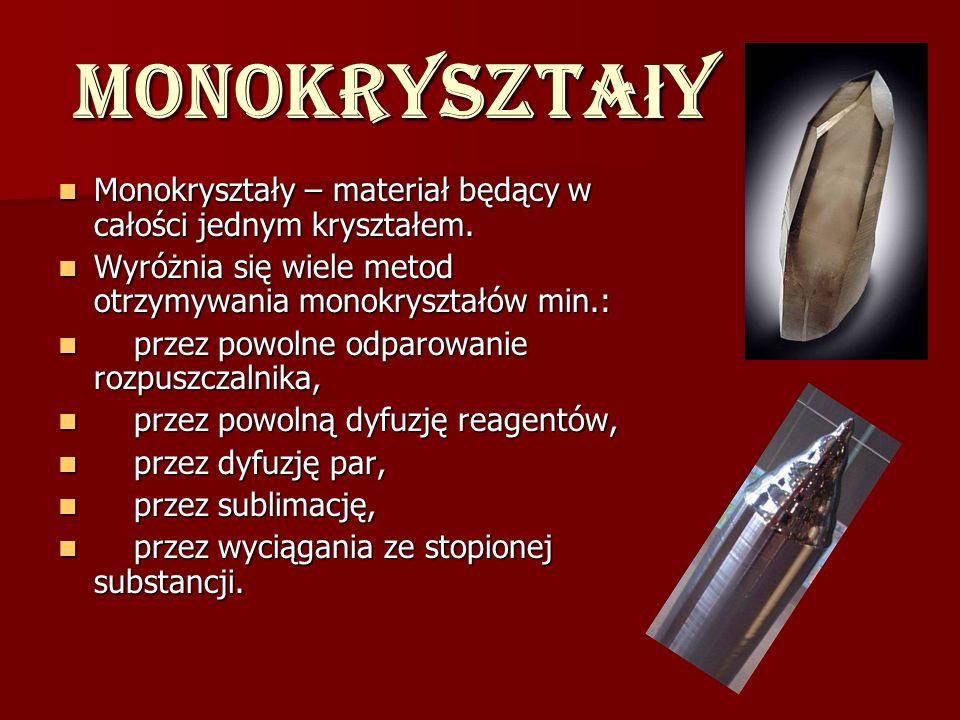Monokryształy Monokryształy – materiał będący w całości jednym kryształem. Wyróżnia się wiele metod otrzymywania monokryształów min.: