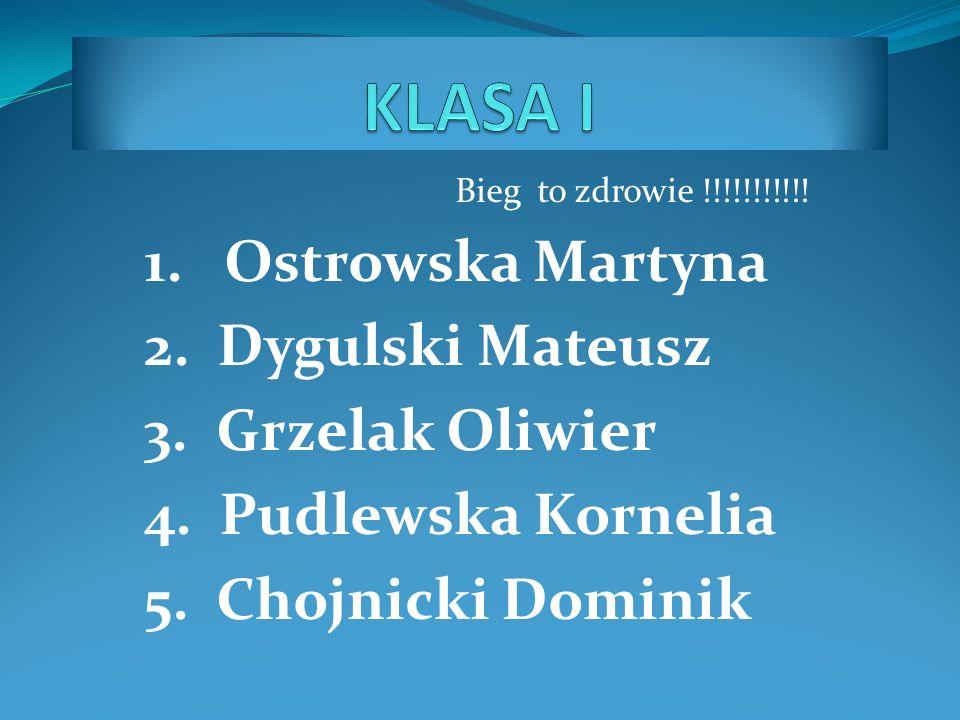 KLASA I 1. Ostrowska Martyna 2. Dygulski Mateusz 3. Grzelak Oliwier