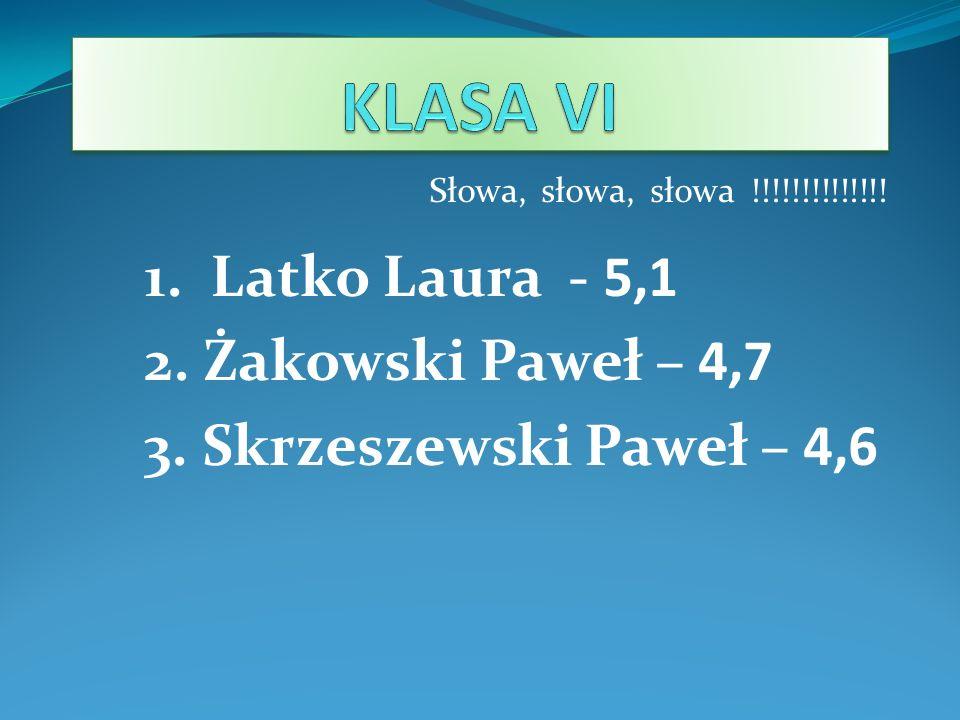KLASA VI 1. Latko Laura - 5,1 2. Żakowski Paweł – 4,7