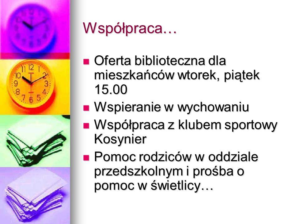 Współpraca… Oferta biblioteczna dla mieszkańców wtorek, piątek 15.00