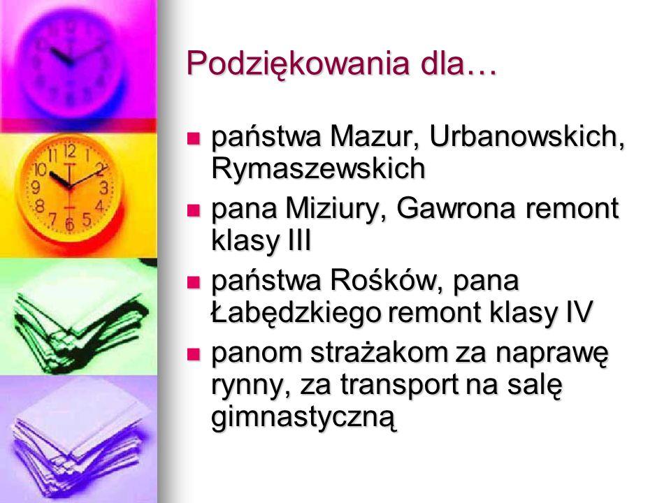 Podziękowania dla… państwa Mazur, Urbanowskich, Rymaszewskich