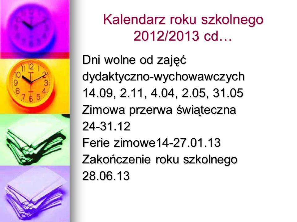 Kalendarz roku szkolnego 2012/2013 cd…