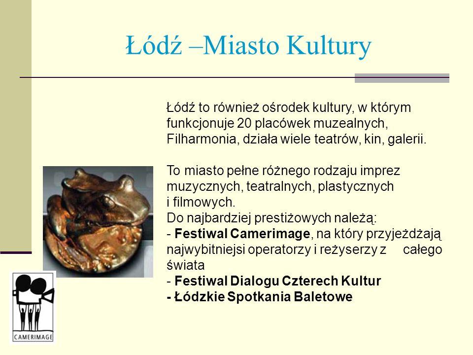 Łódź –Miasto Kultury Łódź to również ośrodek kultury, w którym funkcjonuje 20 placówek muzealnych, Filharmonia, działa wiele teatrów, kin, galerii.