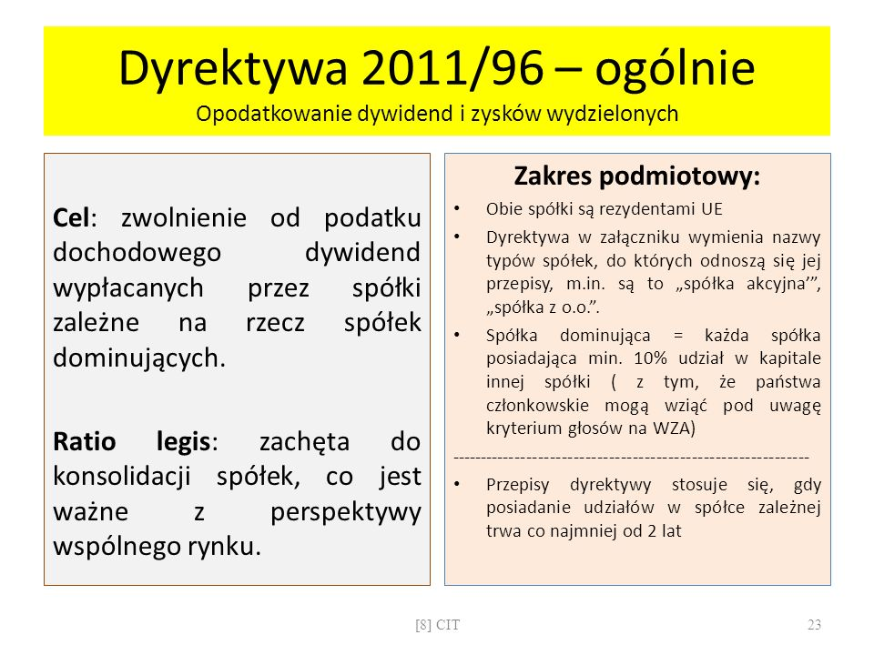 Dyrektywa 2011/96 – ogólnie Opodatkowanie dywidend i zysków wydzielonych