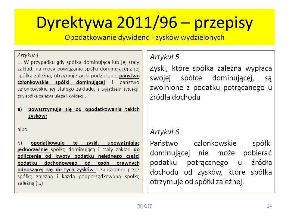 Dyrektywa 2011/96 – przepisy Opodatkowanie dywidend i zysków wydzielonych