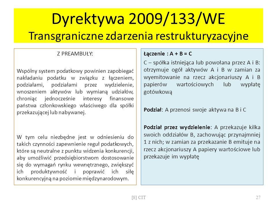 Dyrektywa 2009/133/WE Transgraniczne zdarzenia restrukturyzacyjne