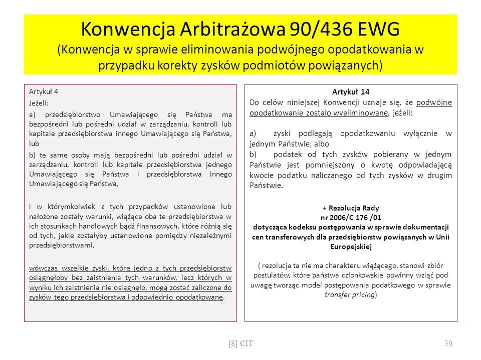 Konwencja Arbitrażowa 90/436 EWG (Konwencja w sprawie eliminowania podwójnego opodatkowania w przypadku korekty zysków podmiotów powiązanych)