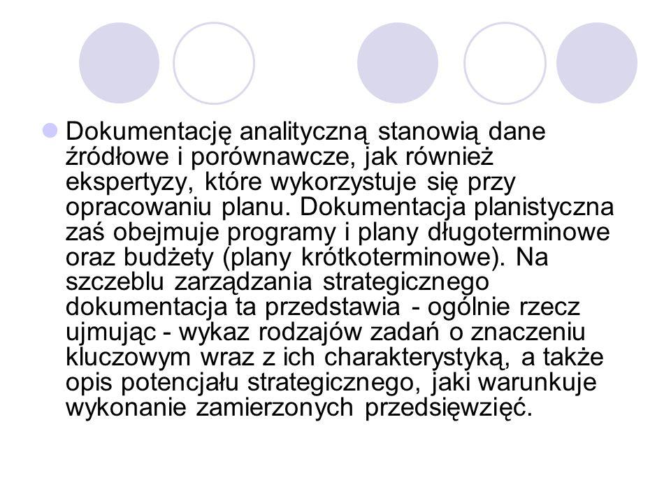 Dokumentację analityczną stanowią dane źródłowe i porównawcze, jak również ekspertyzy, które wykorzystuje się przy opracowaniu planu.