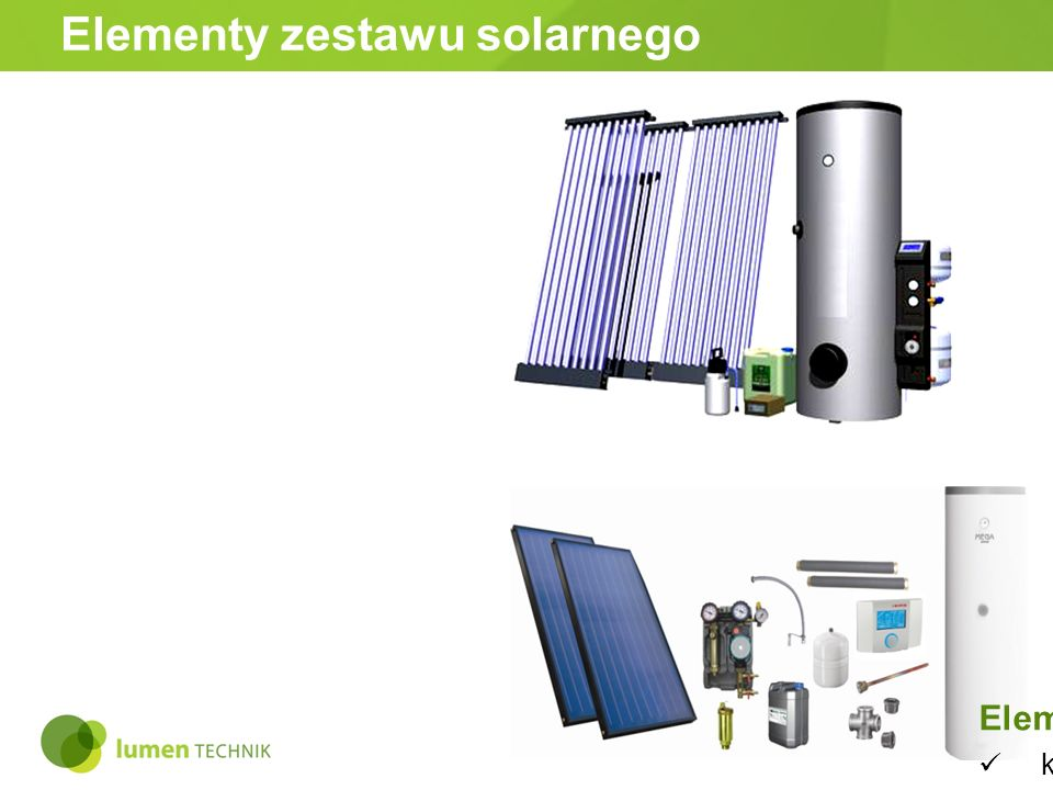 Elementy zestawu solarnego