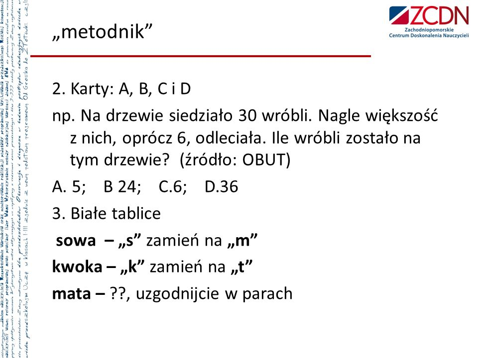"""metodnik 2. Karty: A, B, C i D"